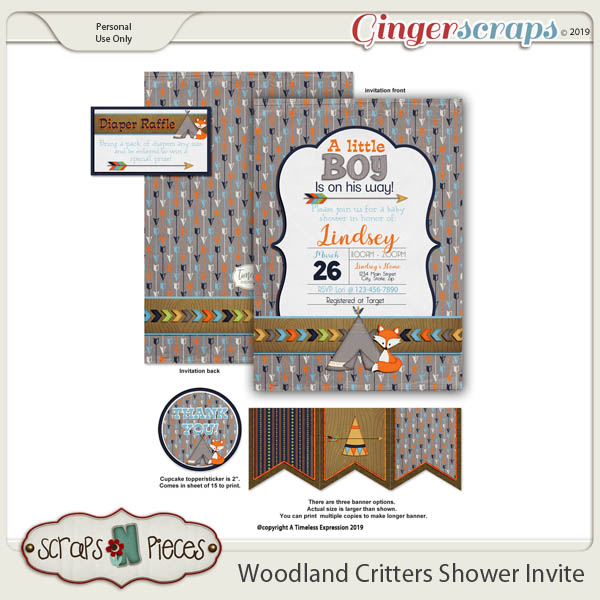 Woodland Critters Baby Shower Invitation by Scraps N Pieces