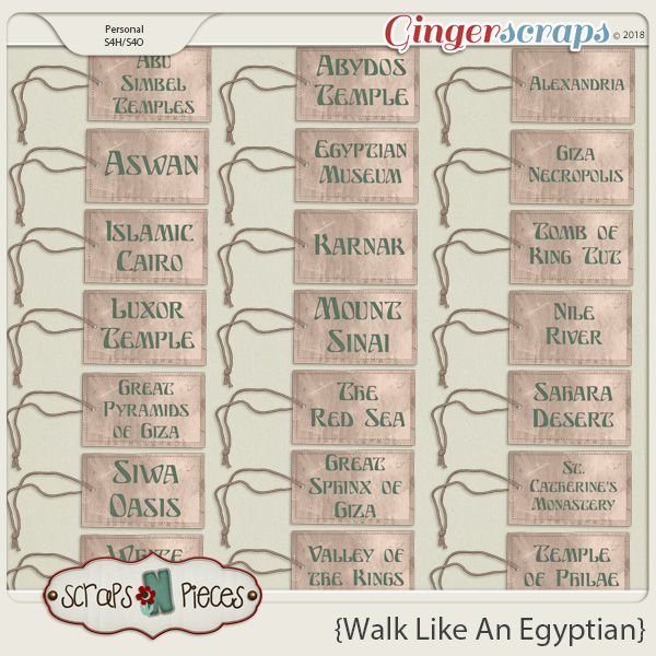 Walk Like An Egyptian Tags by Scraps N Pieces
