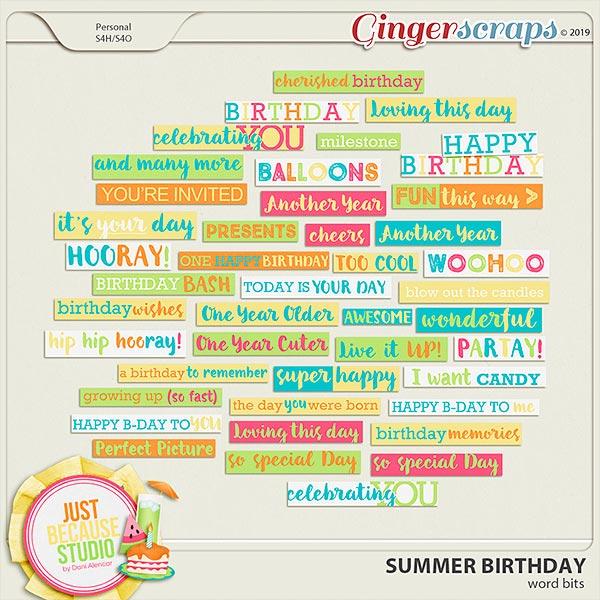 Summer Birthday Word Bits by JB Studio