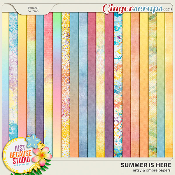 Summer Is Here Artsy Papers by JB Studio