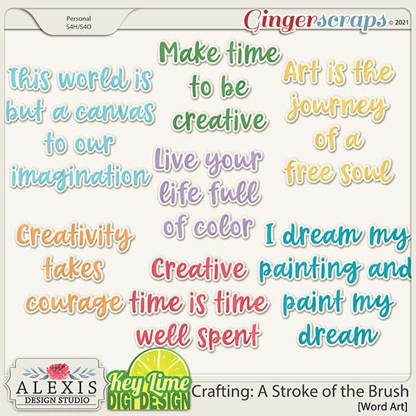 Crafting: A Stroke of the Brush Word Art by Alexis Design Studio and Key Lime Digi Design