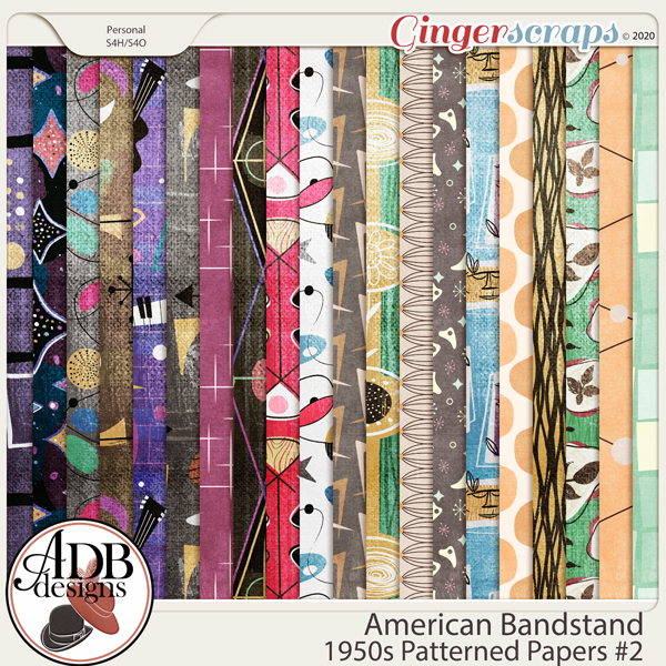 American Bandstand Pattern Papers Set 2 by ADB Designs