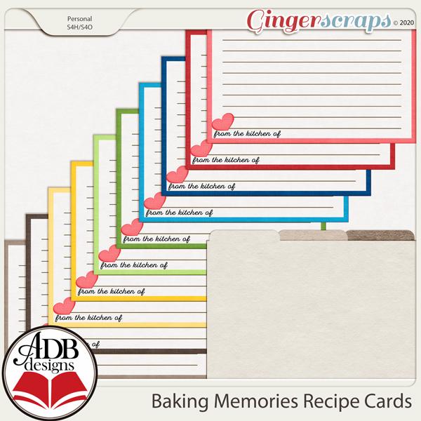 Baking Memories Recipe Cards by ADB Designs