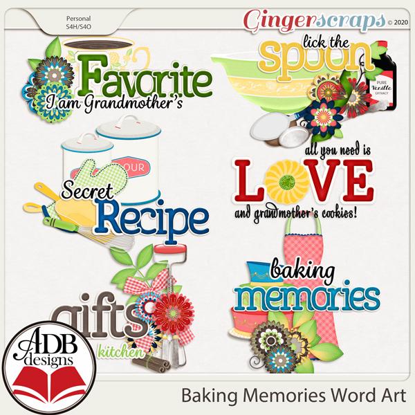 Baking Memories Word Art by ADB Designs