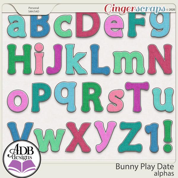 Bunny Play Date Alphas by ADB Designs