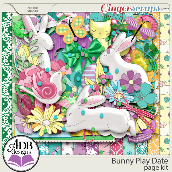 Bunny Play Date Page Kit by ADB Designs