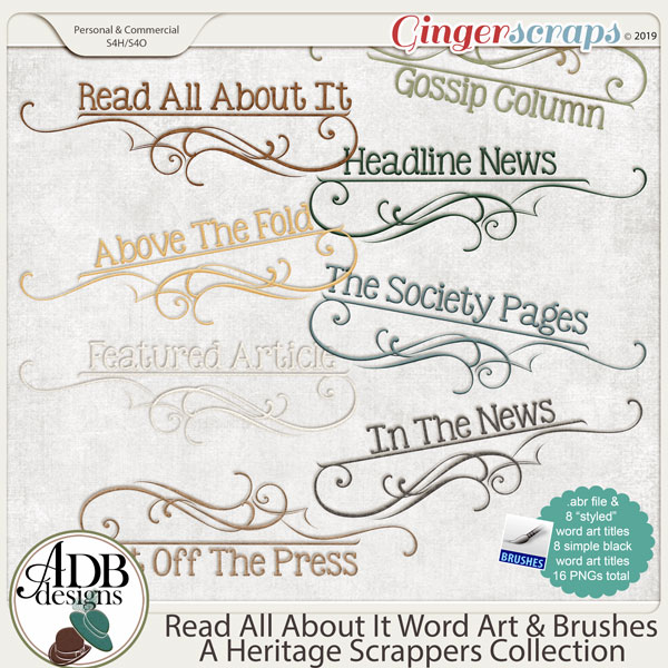 Read All About It Word Art and Brushes by ADB Designs