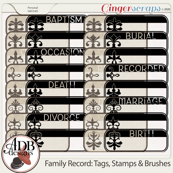 Heritage Resource Family Record Tags, Stamps & Brushes by ADB Designs