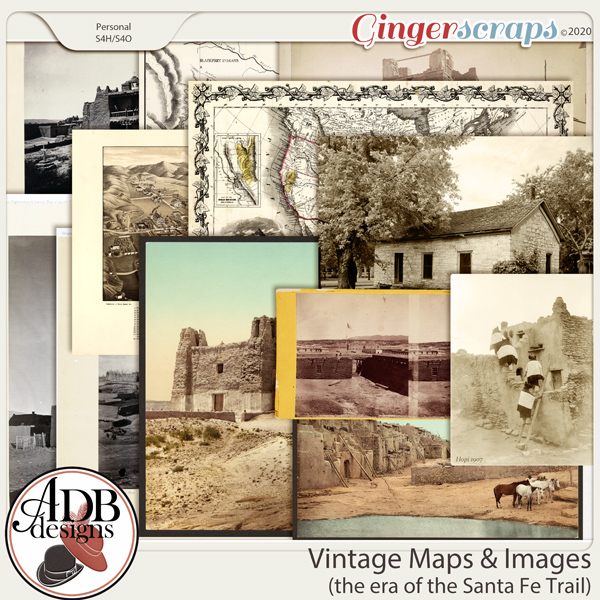 Heritage Resource - Vintage Maps and Images Era of the Santa Fe Trail by ADB Designs