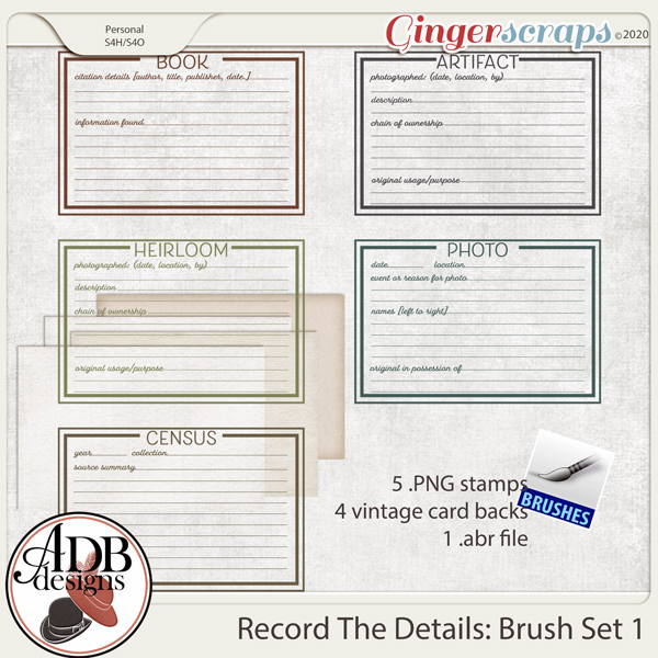 Heritage Resource - Record The Details Brushes Vol 01 by ADB Designs