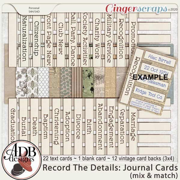 Heritage Resource - Record The Details Journal Cards by ADB Designs