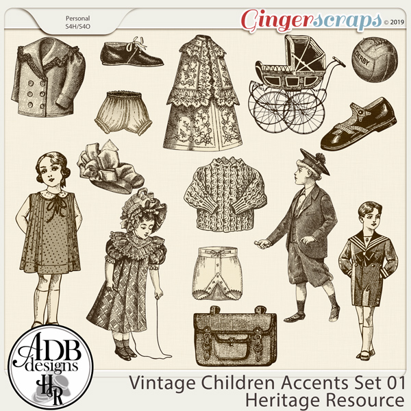 Heritage Resource - Vintage Children Accents Set 01 by ADB Designs