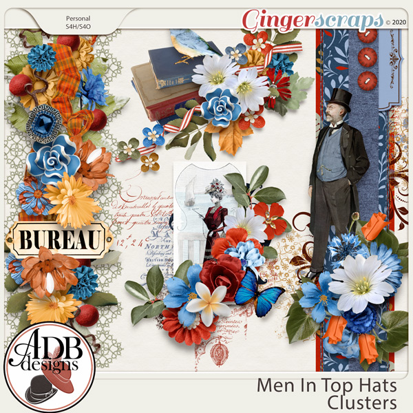 Men in Top Hats Clusters by ADB Designs