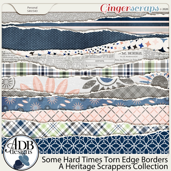 Some Hard Times Torn Edge Borders by ADB Designs