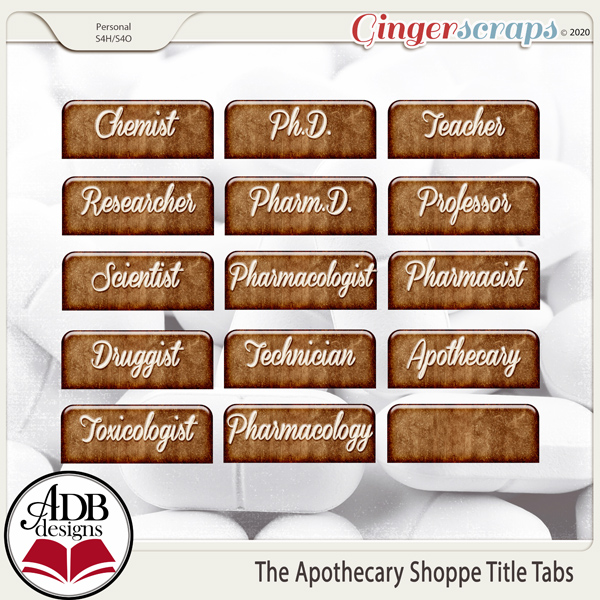 The Apothecary Shoppe Word Tabs by ADB Designs