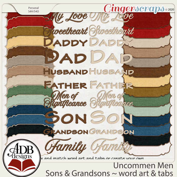 Uncommon Men - Sons & Grandsons Tabs & Word Art by ADB Designs