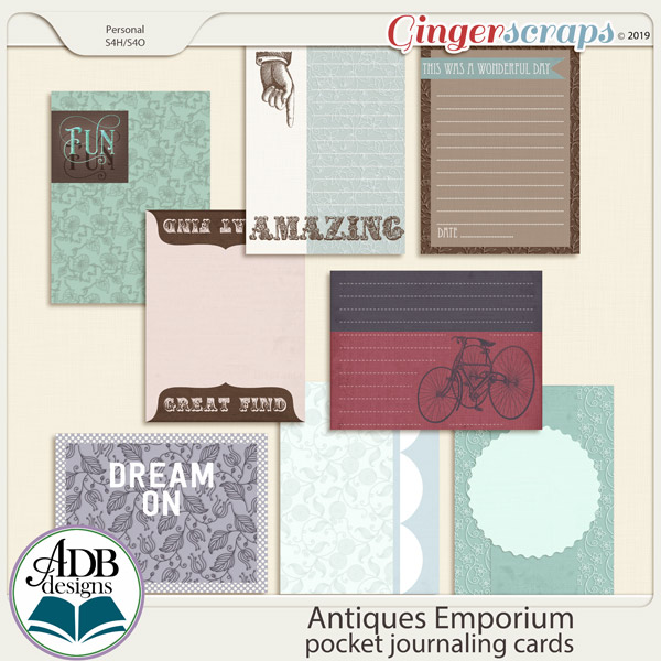 Antiques Emporium Pocket Journal Cards by ADB Designs