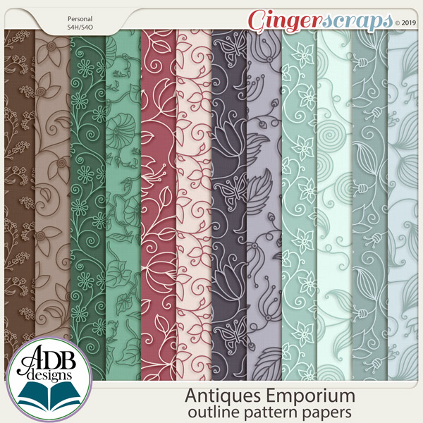 Antiques Emporium Patterned Papers by ADB Designs