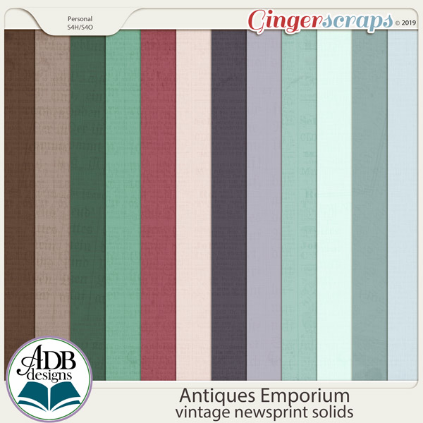 Antiques Emporium Newsprint Solids by ADB Designs
