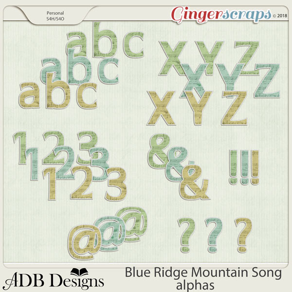 Blue Ridge Mountain Song Alphas by ADB Designs