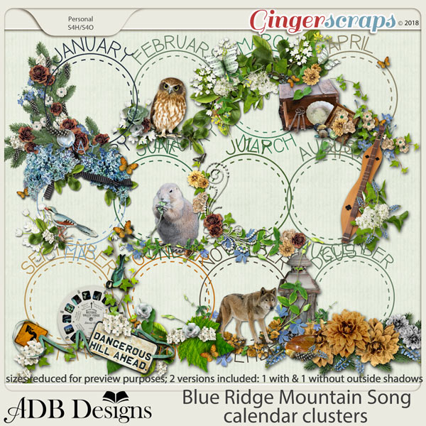 Blue Ridge Mountain Song Calendar Clusters by ADB Designs