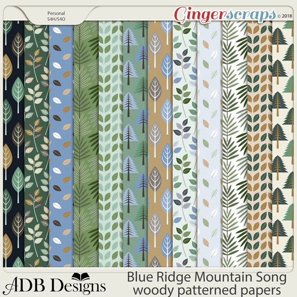Blue Ridge Mountain Song Woodsy Patterned Paper by ADB Designs