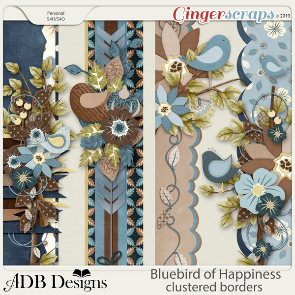 Bluebird of Happiness Cluster Borders by ADB Designs