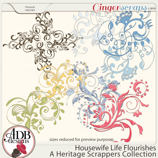 Housewife Life Flourishes by ADB Designs