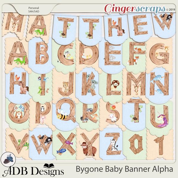 Bygone Baby Banner Alpha by ADB Designs