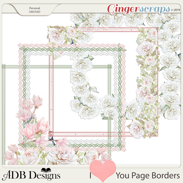 I Heart You Page Borders by ADB Designs