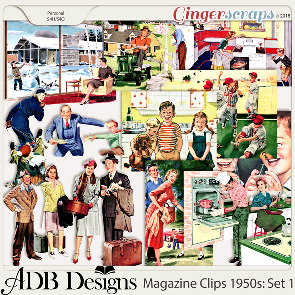 Heritage Resources Magazine Clips: The 1950's Set 01 by ADB Designs