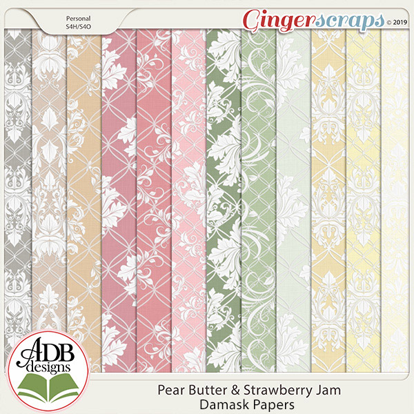 Pear Butter & Strawberry Jam Damask by ADB Designs