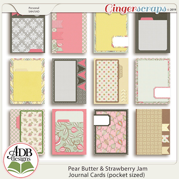 Pear Butter & Strawberry Jam Journal Cards by ADB Designs
