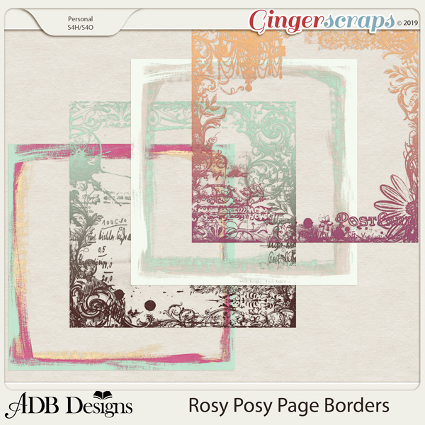Rosy Posy Page Borders by ADB Designs