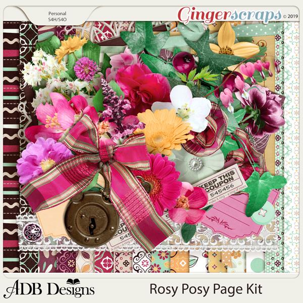 Rosy Posy Page Kit by ADB Designs