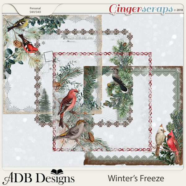 Winter's Freeze Page Borders by ADB Designs
