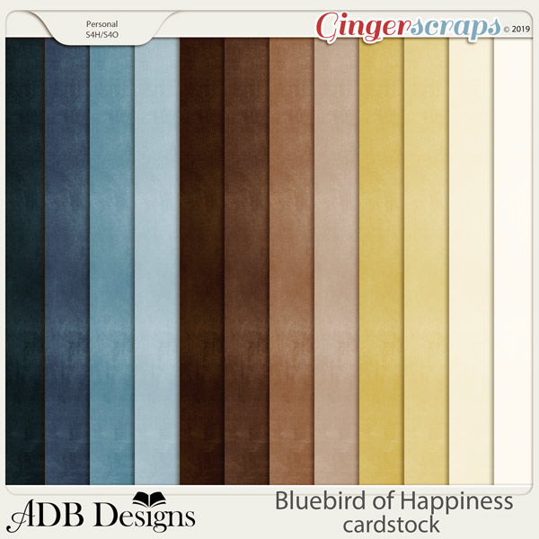 Bluebird of Happiness Solid Papers by ADB Designs