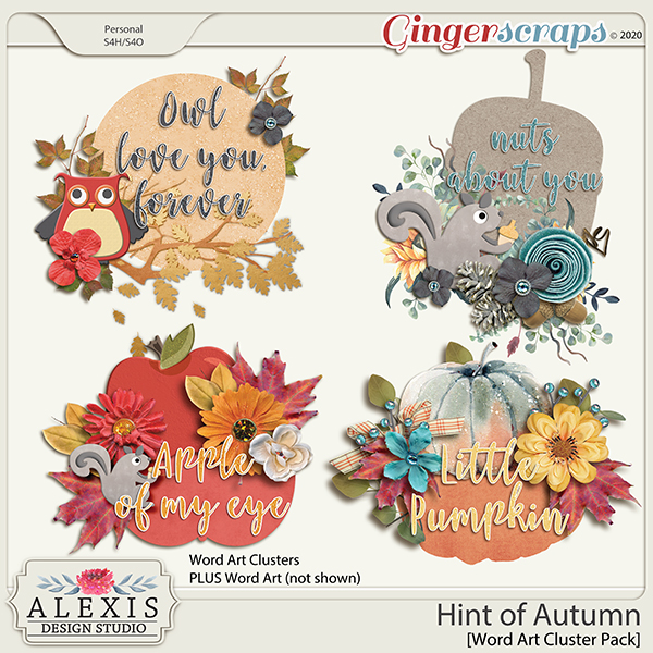 Hint of Autumn - Word Art Clusters