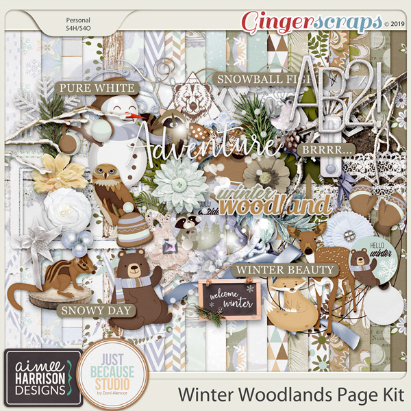 Winter Woodlands Page Kit by Aimee Harrison and JB Studio