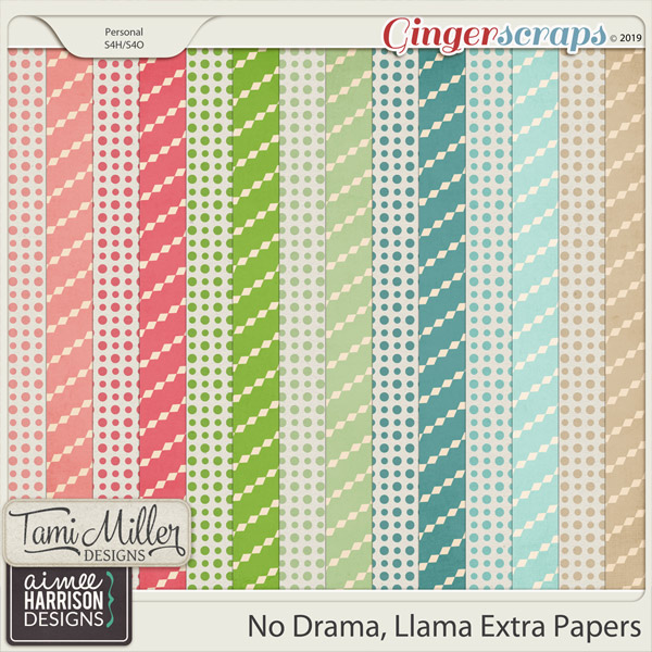 No Drama Llama Extra Papers by Tami Miller Designs