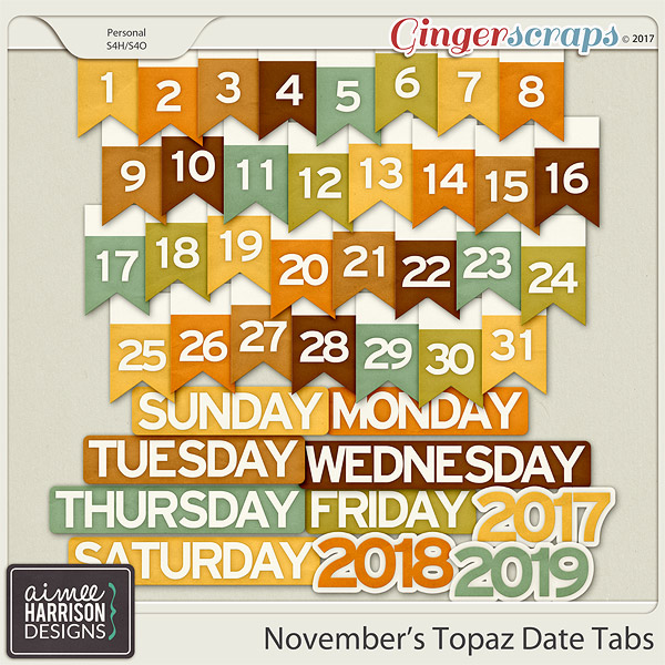 November's Topaz Date Tabs by Aimee Harrison
