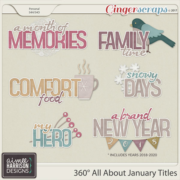 360° All About January Word Art Titles by Aimee Harrison