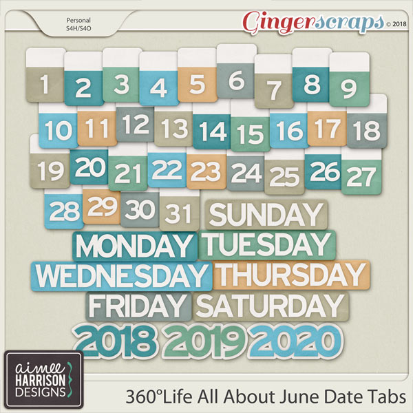 360°Life All About June Date Tabs by Aimee Harrison