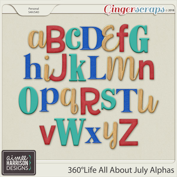 360°Life All About July Alpha Sets by Aimee Harrison