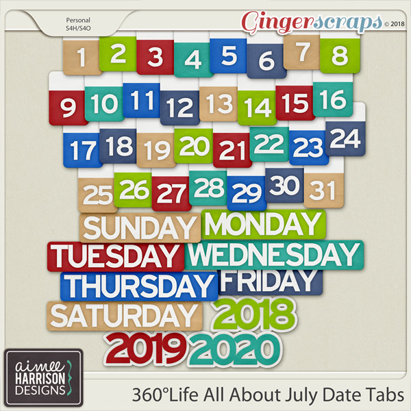 360°Life All About July Date Tabs by Aimee Harrison