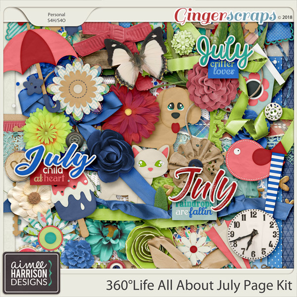 360°Life All About July Page Kit by Aimee Harrison
