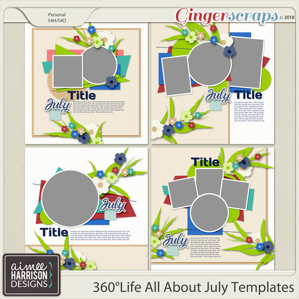 360°Life All About July Templates by Aimee Harrison
