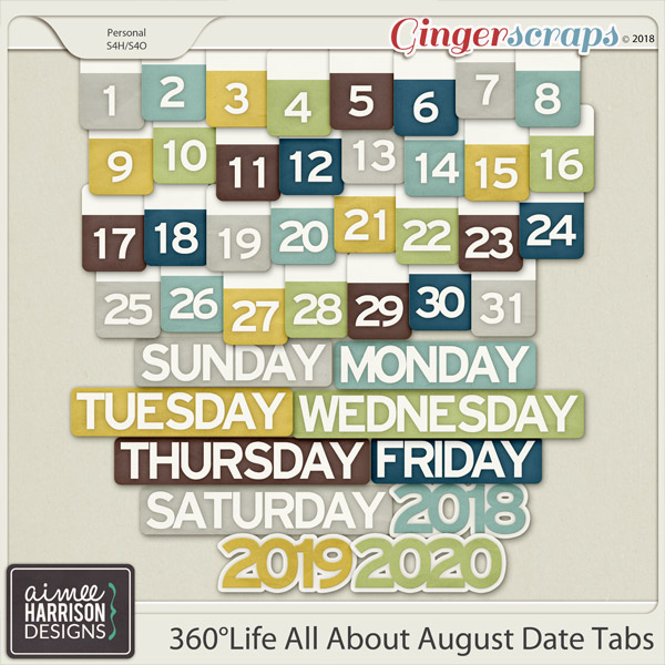 360°Life All About August Date Tabs by Aimee Harrison