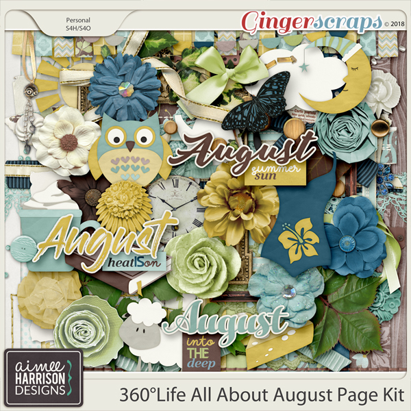 360°Life All About August Page Kit by Aimee Harrison