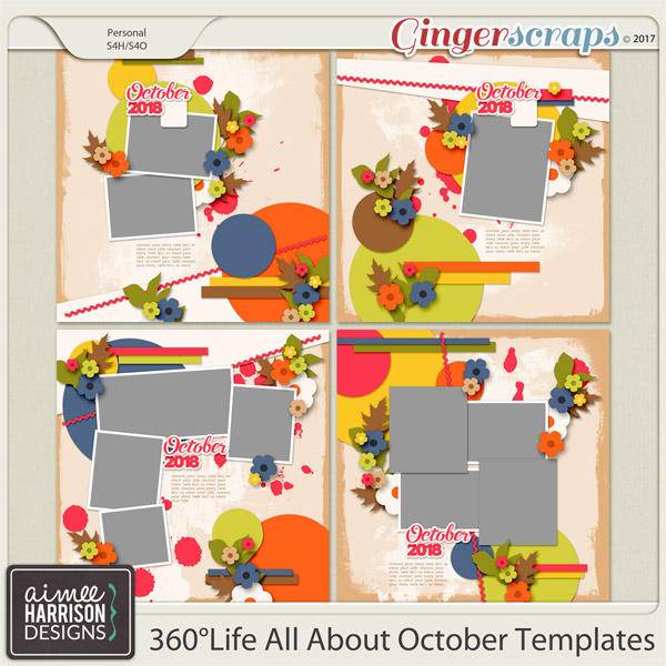 360°Life All About October Templates by Aimee Harrison